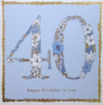 Age Card 40 Female Square Flowers Blue