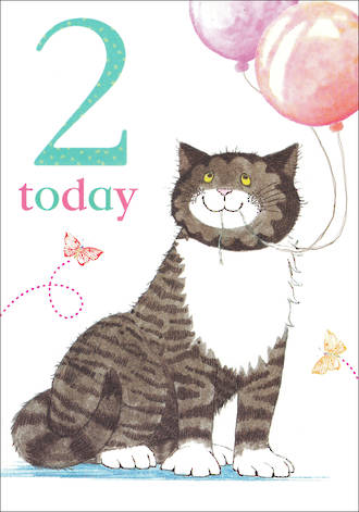 Birthday Age Card 2 Girl Mog