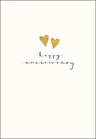 Anniversary Card Gold Hearts