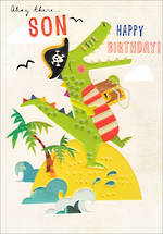 Son Birthday Card 100% Kids Crocodile
