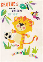 Brother Birthday Card 100% Kids Tiger