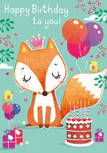 Kids' Birthday Card Fox