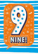 Birthday Age Card 9 Boy Speech Bubble