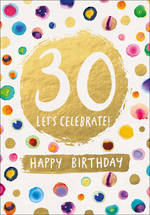 Birthday Age Card 30 Lux Female Dots