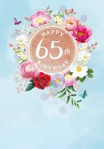 Birthday Age Card 65 Female Painted Flowers