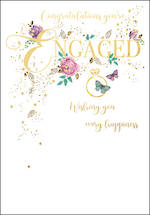 Engagement Card Gold Text