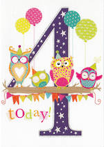 Age Card 4 Girl 100% Kids Owls
