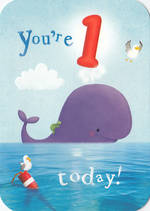 First Birthday Age Card 1 Boy 100% Kids Whale