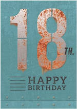 Birthday Age Card 18 Male Rust Iron