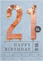 Age Card 21 Male Birthday Rust Iron