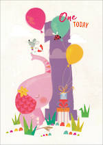 First Birthday Age Card 1 Girl 100% Kids Elephant