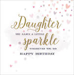 Daughter Birthday Card Velvet Ink Square Sparkle
