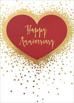 Anniversary Card Happy Red Heart & Stars