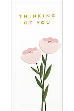 Sympathy Card Thinking of You Small Slim Pink Flowers
