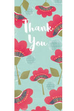 Thank You Card Small Slim Red Flowers