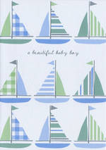 Baby Card Boy Sail Boats