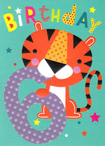 Age Card 6 Boy Birthday Cherry On Top Tiger