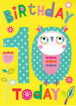 Birthday Age Card 10 Girl Cherry On Top Owl