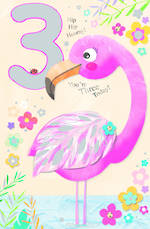 Age Card 3 Girl Birthday Pop Up Jojo's Jungle Flamingo