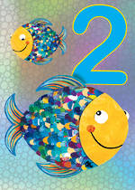 Birthday Age Card 2 Boy Jojo's Jungle Fish