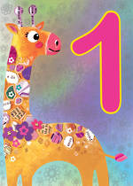 First Birthday Age Card 1 Girl Jojo's Jungle Giraffe
