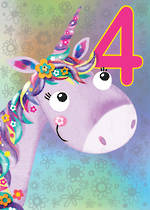 Birthday Age Card 4 Girl Jojo's Jungle Unicorn