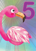 Birthday Age Card 5 Girl Jojo's Jungle Flamingo