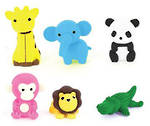 Novelty Eraser Set Large Jungle Animals