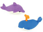 Novelty Eraser Set Small Whale & Dolphin