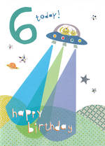 Birthday Age Card 6 Boy Hello Sunshine Aliens