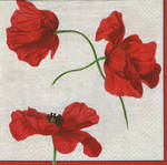 Cocktail Napkins Caspari Dancing Poppies Ivory