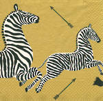 Lunch Napkins Caspari Zebras Gold