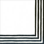 Cocktail Napkins Caspari Stripe Border Black & White