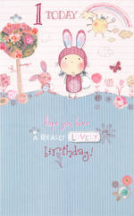 Age Card 1 Girl Wishing Well Birthday