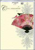 Anniversary Card Civil Stephanie Rose Birds Fan