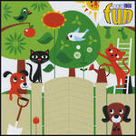 Blank Card: Fun - Cats Birds And Trees