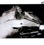 Blank Card Photographic Vogue Square Girls in Cars