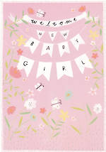 Baby Card Girl: Welcome Bunting