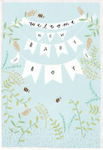 Baby Card Boy: Welcome Bunting