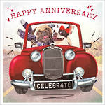 Anniversary Card Scream Square Celebrate Red Car