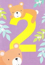 Age Card 2 Girl Birthday Tiger Tail Bear