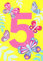Age Card 5 Girl Birthday Tiger Tail Butterflies