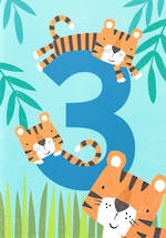Age Card 3 Boy Birthday Tiger Tail Tigers