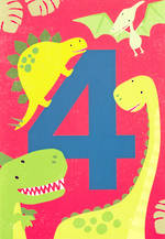 Birthday Age Card 4 Boy Tiger Tail Dinosaur
