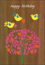Female Birthday Card: Greatoaks Three Yellow Birds