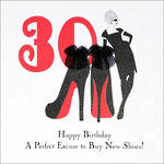 Birthday Age Card 30 Female Belle De Noir Shoes