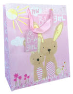 Large Gift Bag Baby Girl Bunnies