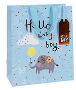 Large Gift Bag Baby Boy Tiny Elephant