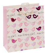 Medium Gift Bag Baby Girl Birds