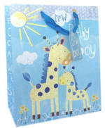 Medium Gift Bag Baby Boy Giraffes